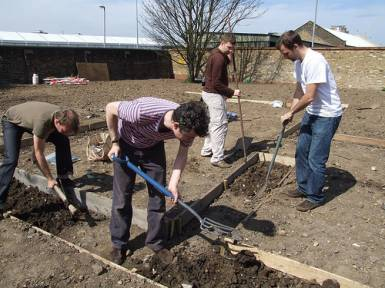 The friends of Abbey Gardens get stuck in