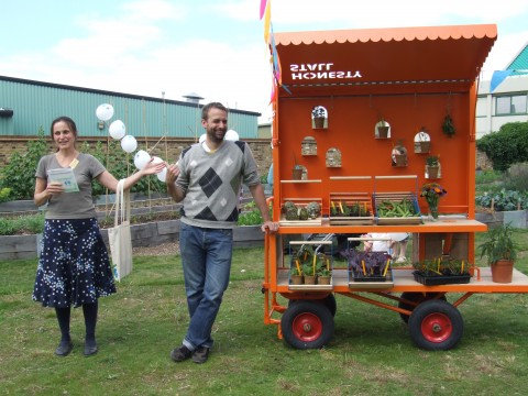 Dasha & Andreas with the new honesty stall. Photo: Nina Pope